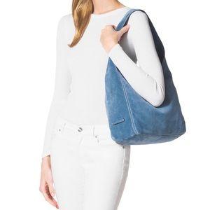 Michael Kors blue suede Lena bag